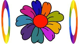 How to Draw Coloring Flower for Kids Easily Step by Step Learn    Little Channel    Rainbow Flower
