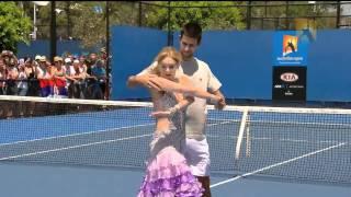 dancing with novak djokovic   australian open 2011