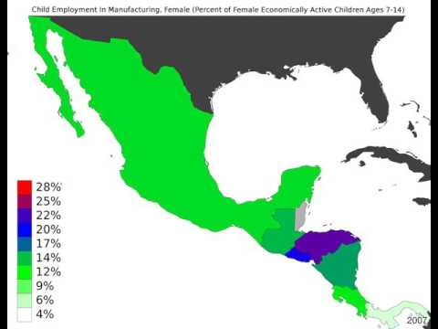 Central America - Child Employment In Manufacturing, Female - Time Lapse