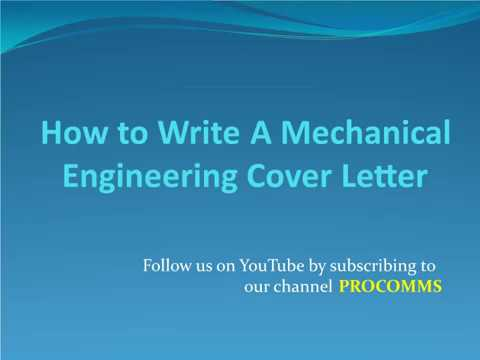 How To Write A mechanical Engineering Cover Letter | Mechanical Engineering Cover Letter