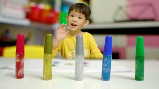 Learn Colors and Learn Shapes GLITTER Glue | Educational video for Children | Xavi ABCKids