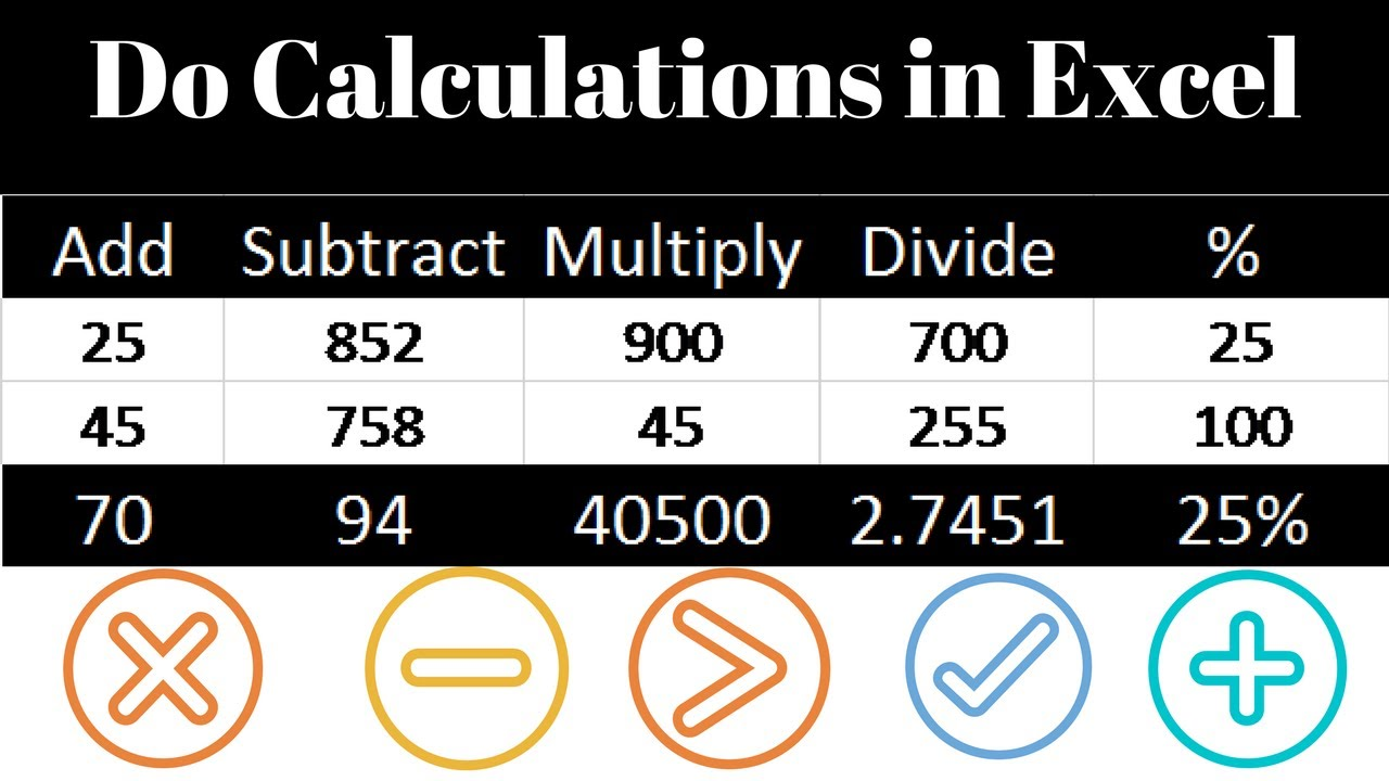 Add Subtract Divide Multiply In Excel Youtube