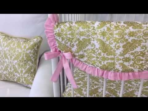Pink & Gold Damask Baby Bedding by Caden Lane