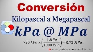Convertir de kilopascal a megapascal (kPa a MPa)