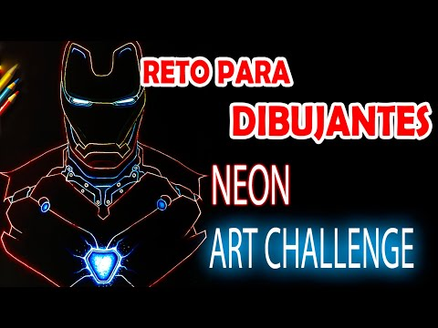 NEON ART CHALLENGE | Drawing IRON MAN Avengers END GAME | Esteban Arts