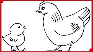 Cómo Dibujar un Pollito y la Mamá Gallina muy Fácil y Paso a Paso Time Lapse: Tutorial de Dibujo
