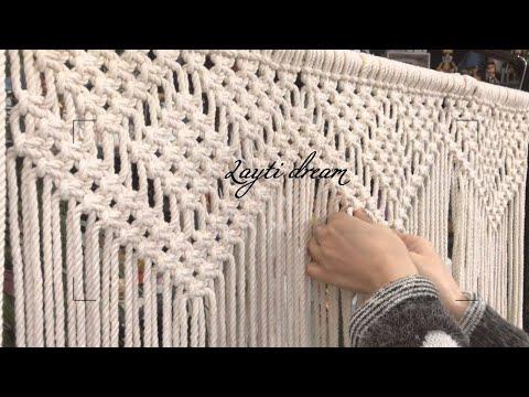 기본 매듭(평매듭) 하나로 만든 마크라메 월행잉 : Square knots macrame Wall hanging