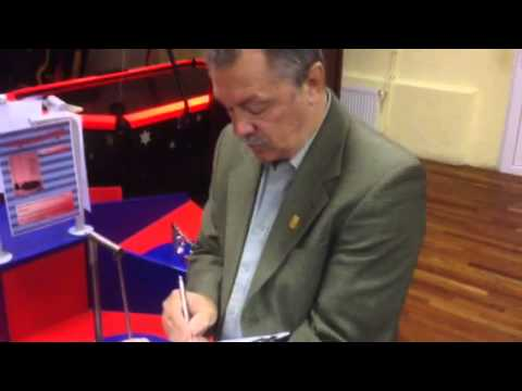 First Hungarian Cosmonaut Bertalan Farkas signs autograph in Budapest (23.09.2013)