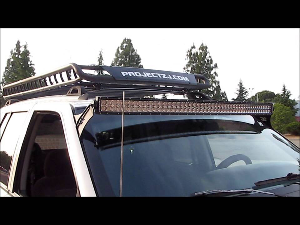 Jeep grand cherokee 4x4 project zj part 47 led light bar 50 inch jeep grand cherokee 4x4 project zj part 47 led light bar 50 inch curved brackets wiring install youtube mozeypictures Images