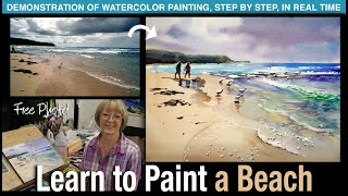 Learn to Paint a Beach! Step-by-Step Real Time Demonstration for Beginners and Intermediate Artists