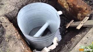 Монтаж канализационного колодца - небольшой видео отчет(Закончился первый день, колодец установлен. Скоро начнем засыпать щебнем пространство рядом и одевать..., 2015-07-11T10:24:46.000Z)