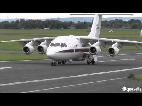 MUST SEE! BAe 146 RAF ZE700 ✈ Very close landing taxi and takeoff ✈ Gloucestershire Airport