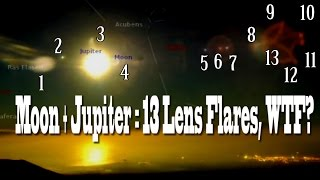 Jupiter + the Moon = 13 Lens Flares. WTF? It looks like a planetary system.