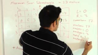 Maximum Sum Rectangular Submatrix in Matrix dynamic programming/2D kadane