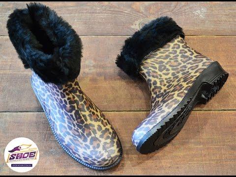 Резиновые женские сапоги с леопардовым принтом Litma с утеплителем
