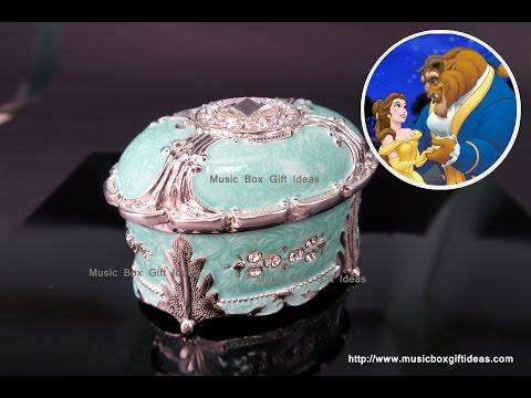 Green Oval Sankyo Wind-up Jewelry Music Box Beauty and The Beast
