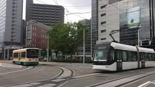 富山地方鉄道 富山市内軌道線 富山駅 同時発車 Toyama Chihō Railway Toyama City Tram Line Toyama Station (2018.4)