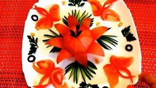 Шикарный цветок из помидора - Украшения из огурца & Как красиво нарезать овощи - Карвинг