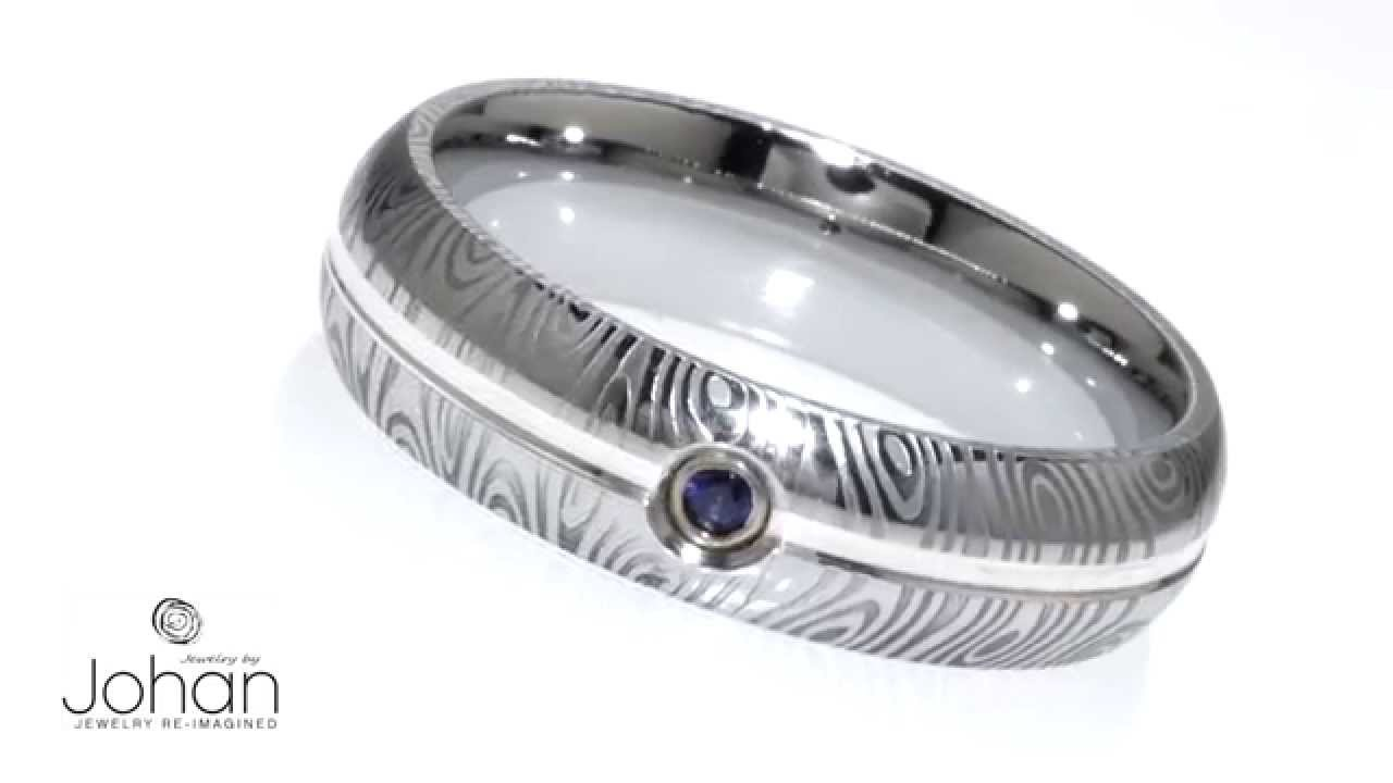 Womens Damascus Wedding Ring With Silver Pinstripe And Blue Sapphire ...