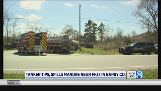 Tanker tips, spills manure near M-37 in Barry Co.