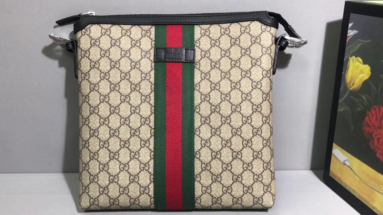 6112806251ef Gucci web GG Supreme messenger bag - YouTube