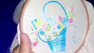Bordado a mão livre ponto de esteira arranjo de cestas – free hand embroidery