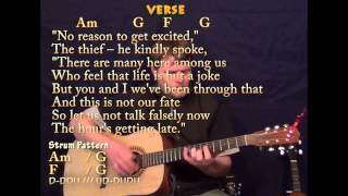 Video All Along The Watchtower - Guitar Strum - Am G F - Cover Lesson with TAB Lyrics download MP3, 3GP, MP4, WEBM, AVI, FLV Mei 2018