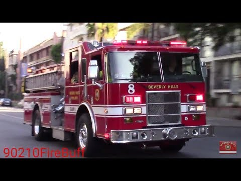 Beverly Hills Fire Dept. Engine 8 & Rescue 2 Responding