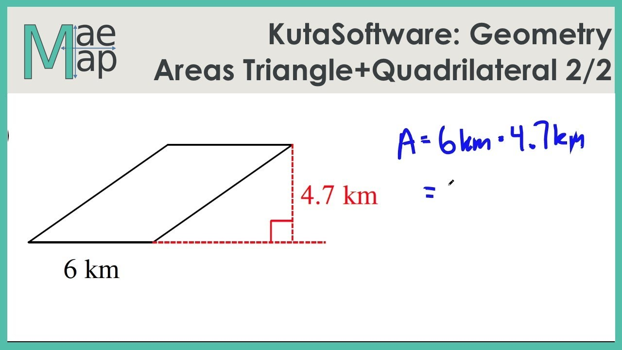 worksheet Area Of Triangles And Quadrilaterals Worksheet kutasoftware geometry area of triangles and quadrilaterals part 2 2