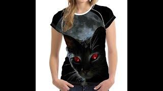 FORUDESIGNS черный 3D кошка животных женщины Повседневная Футболка