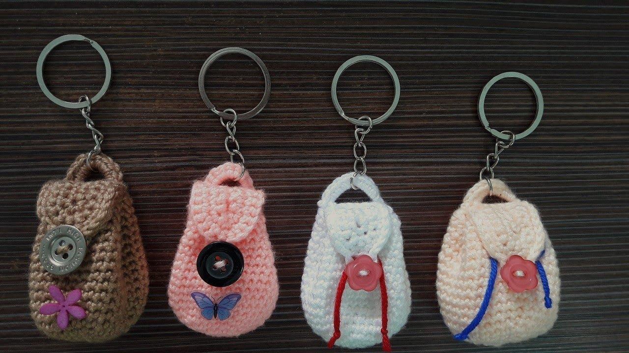 Hướng dẫn móc túi xách mini làm móc khóa | Crochet mini bag keychain | Bluesky Handmade