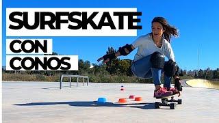 Carver #Surfskate con CONOS, 🙈intentando entrenar en skate park