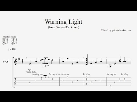 Relaxing Acoustic Guitar TAB  Warning Light  acoustic fingerpicking guitar tab  PDF  Guitar Pro