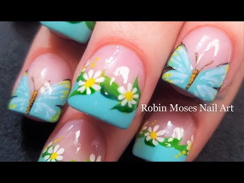 SPRING Nails 2018 | Hand Painted Butterfly Nail Art and Daisy Design GOAT!