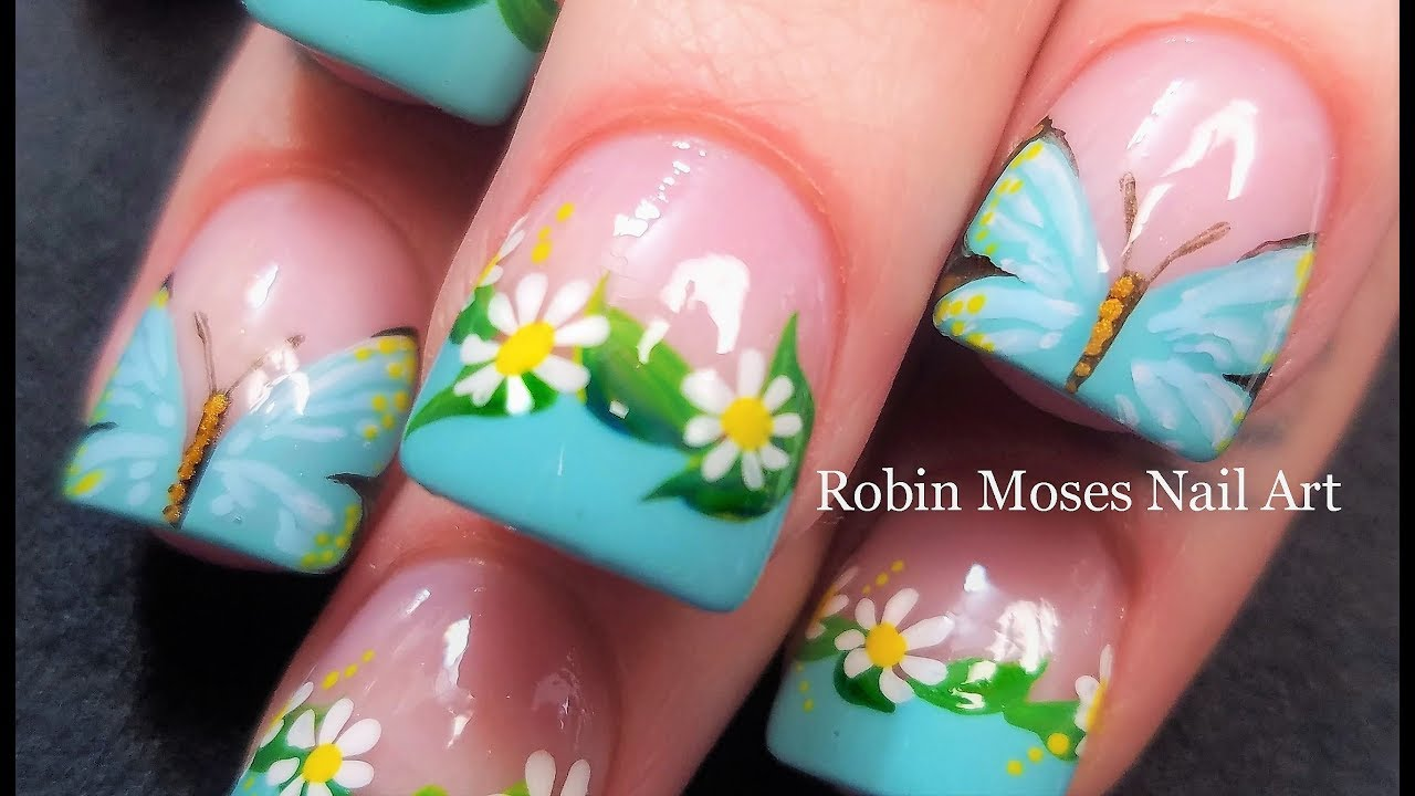 Try this Butterfly and Daisy Nail Art | Affordable Nails that shine ...