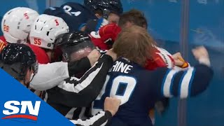 Patrik Laine Drops The Gloves After Noah Hanifin Crosschecks Kyle Connor Into Boards