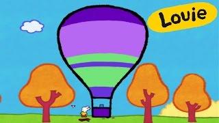 Cartoon for kids - Louie draw me a Hot-air Balloon HD | Learn to draw