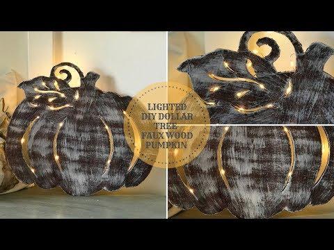 DIY DOLLAR TREE LIGHTED FAUX WOOD PUMPKIN|FALL DECOR