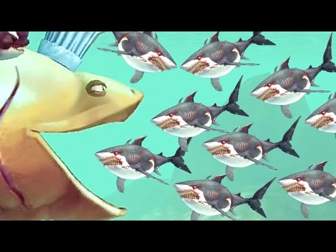 BASKING SHARK CHEF EATS EVERYTHING! - Hungry Shark World Gameplay (All Chef Accessories!)