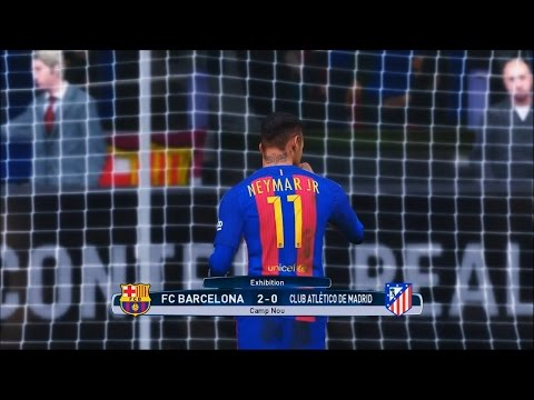 PES 2017 Superstar difficulty - FC Barcelona 2 vs 0 Atlético Madrid [720p 60fps]