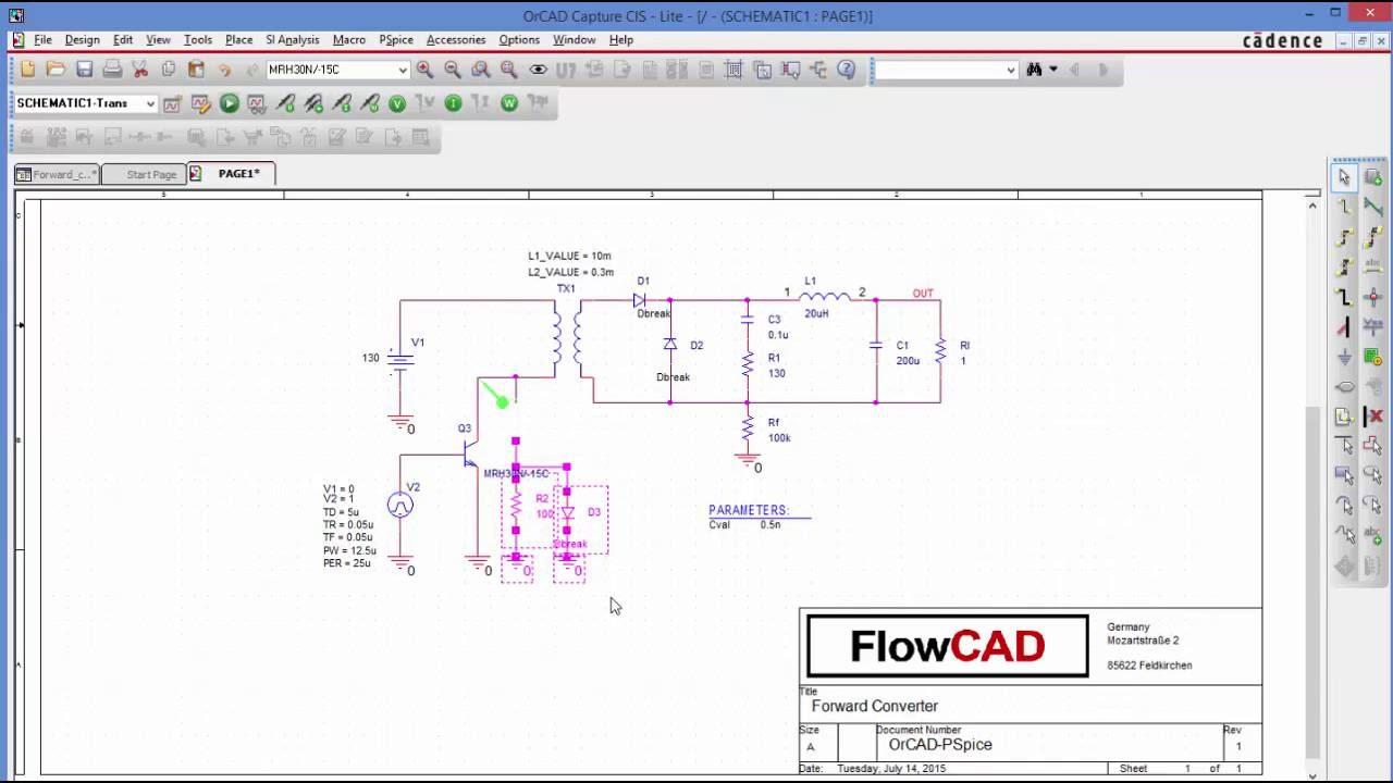 PSpice Tutorial: Forward Converter (Eintaktflusswandler) - YouTube