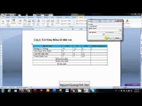 Bài 3 – Hướng dẫn tạo bảng thống kê