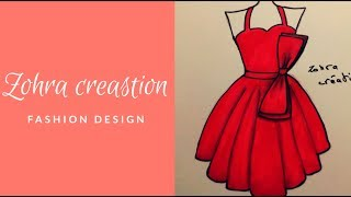 Simple Drawing Short Dress 2 || For Beginners