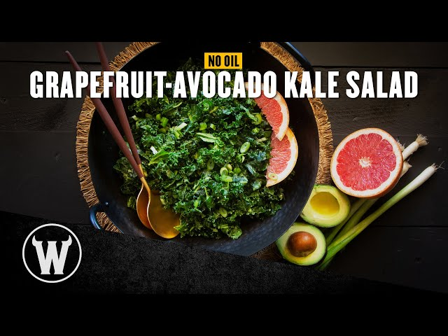 Easy (No Oil!) Grapefruit-Avocado Kale Salad | The Wicked Kitchen