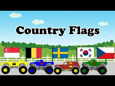 Flags of The World Educational Videos for Kids Monster Trucks - Part 3