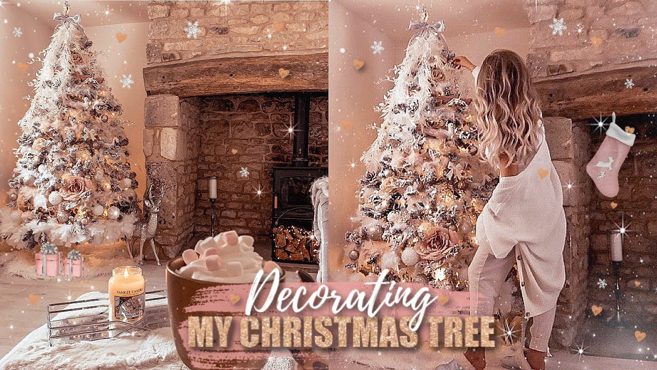 Decorating My Christmas Tree 2019 Blush Pink White Rose Gold Faux Fur Gemma Louise Miles Youtube