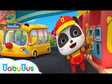 Baby Panda Gas Station Attendants | Little Bus is Hungry | Kids Role Play | BabyBus