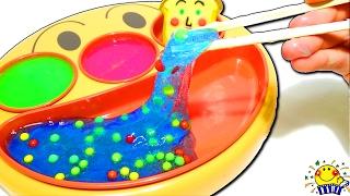 アンパンマン フェイスランチ皿でお料理ごっこ❤︎手作りスライムのご飯❤︎ドキンちゃんのキッチンままごとショーだよ♪しょくぱんまん様喜んでくれるかな?❤︎キッズ アニメ Kids anpanman
