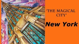 New York 'Magical city' coloring book / Derwent Inktense pencils