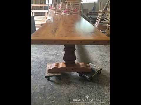 Reclaimed Oak Barn Wood trestle table - Large Farm Table